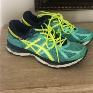 Women's ASICS neon running shoes